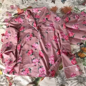 VICTORIAS SECRET floral cotton pajama set